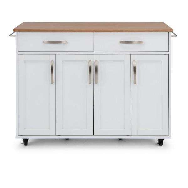 Brookshire White Kitchen Cart with Natural Wood Top