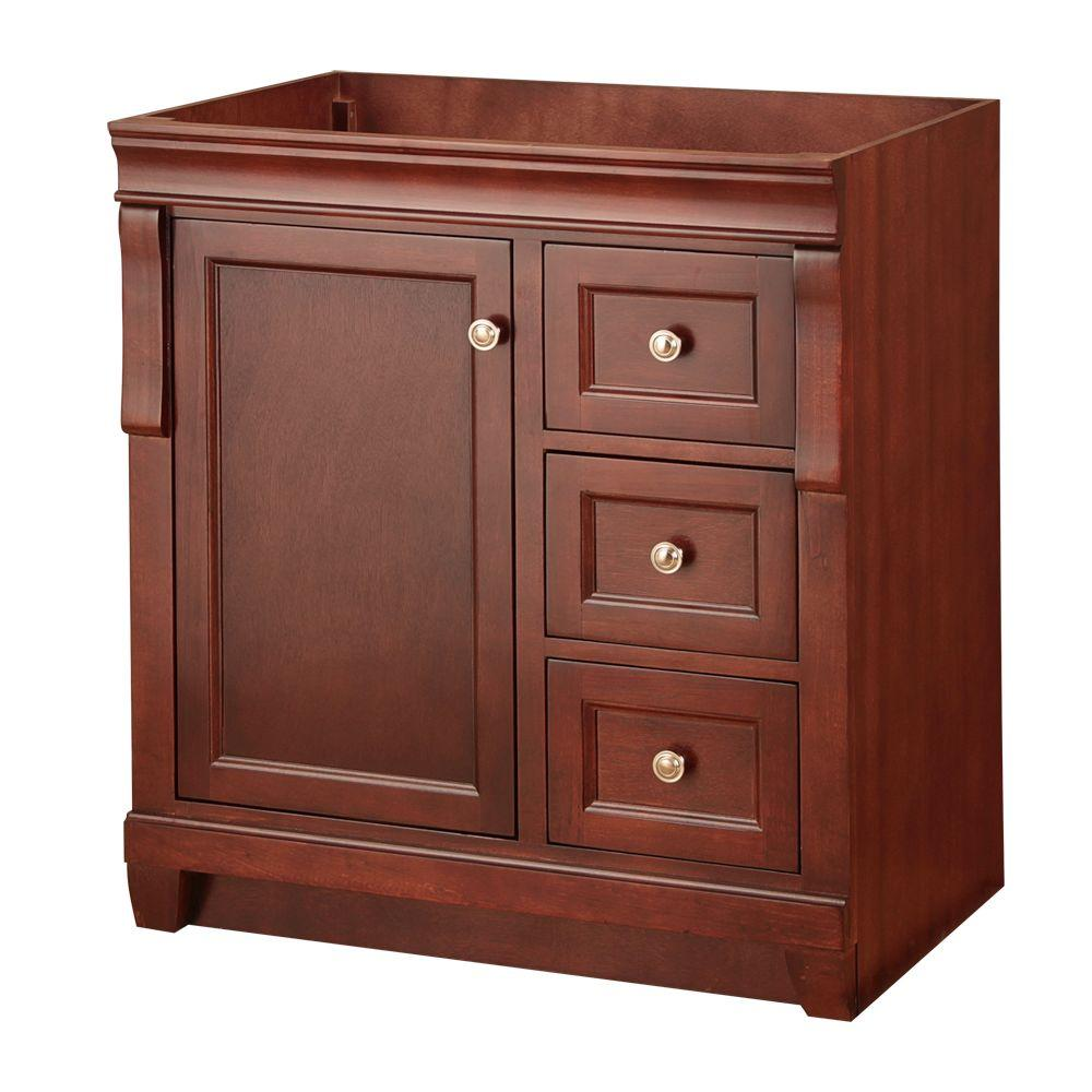 foremost naples 30 in w bath vanity cabinet only in tobacco with right hand drawers nata3021d