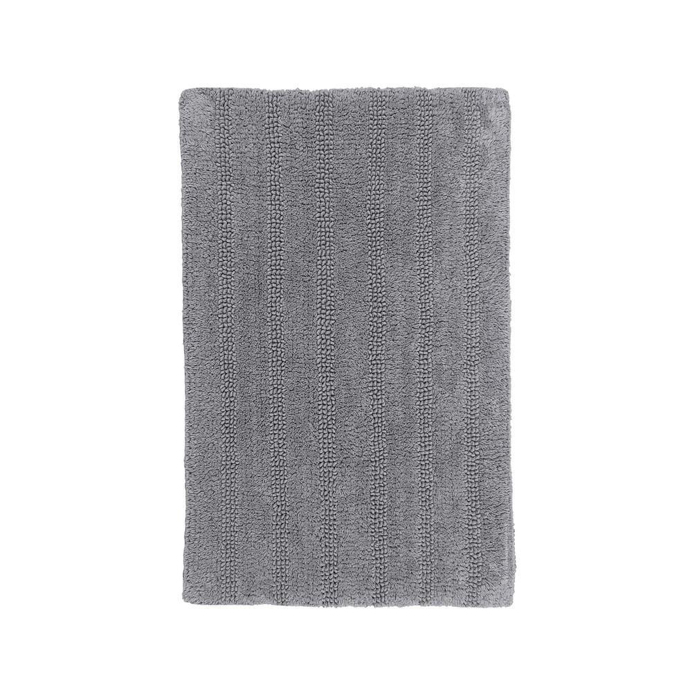 Linear Reversible Silver 30 in. x 20 in. Bath Rug