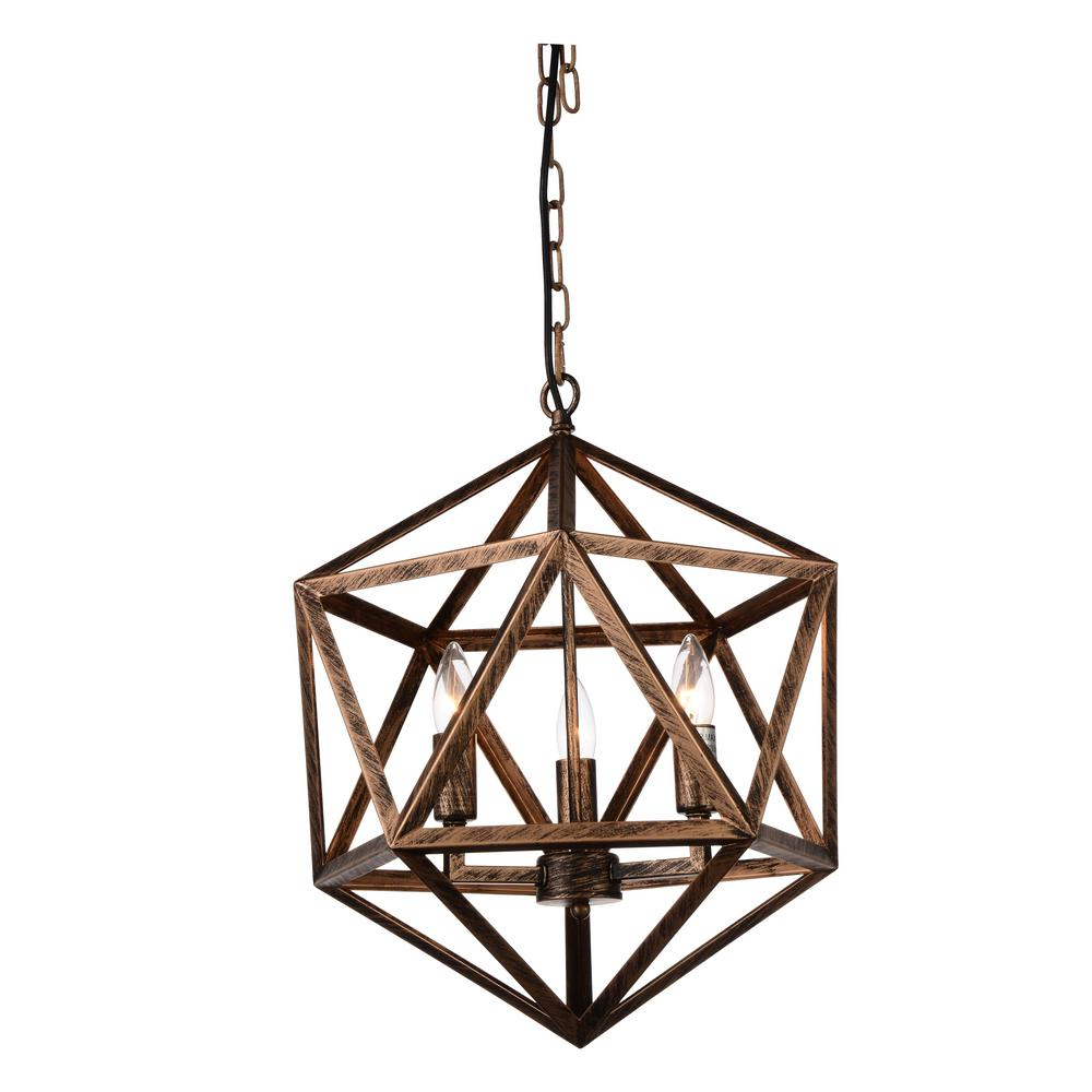 CWI Lighting Amazon 3-Light Antique Forged Copper Chandelier