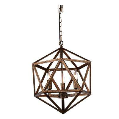 Amazon 3-Light Antique Forged Copper Chandelier