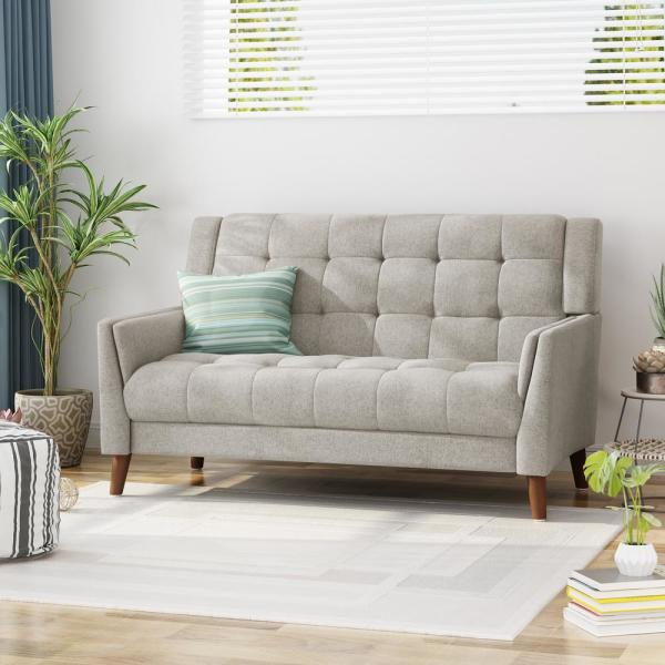 Noble House Candace Mid-Century Modern Tufted Beige Fabric ...