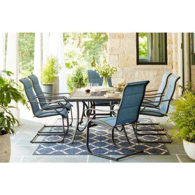 Crestridge Padded Sling Spring Patio Dining Chair in Conley Denim (2-Pack)