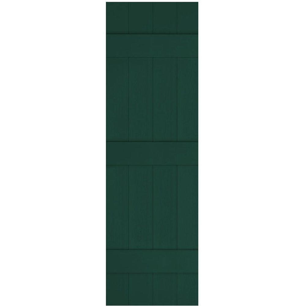Ekena Millwork 14 in. x 75 in. Lifetime Vinyl Standard Four Board Joined Board and Batten Shutters Pair Midnight Green