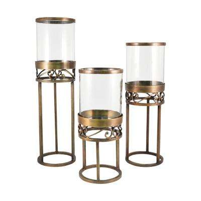 Tower 22 in., 18 in. and 15 in. Antique Brass and Clear glass Candle Holders (Set of 3)