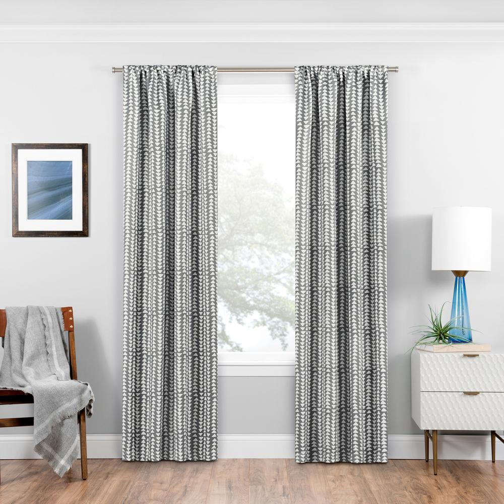 Eclipse Naya Blackout Window Curtain Panel in Grey - 37 in. W x 63 in. L