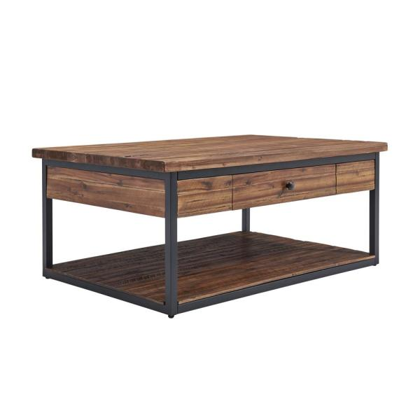 Claremont 48''L Rustic Wood Coffee Table with Drawer and Low Shelf
