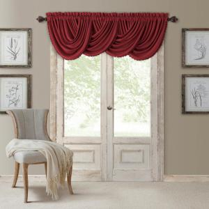Blackout All Seasons 52 inch W x 36 inch L, Single Window Valance Blackout Rod Pocket Solid Valance, Rouge by