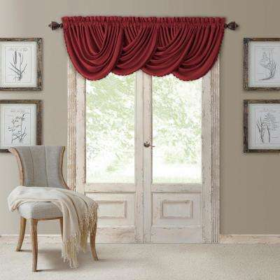 Blackout All Seasons 52 in. W x 36 in. L, Single Window Valance Blackout Rod Pocket Solid Valance, Rouge