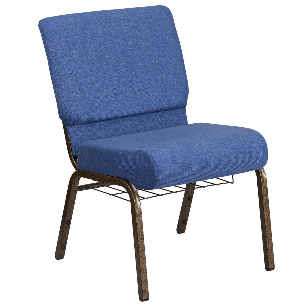 Flash Furniture Blue Fabric/Gold Vein Frame Stack Chair CGA-FD-191209-BL-HD