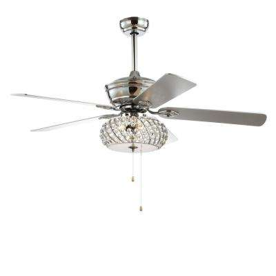 Crista 52 in. Chrome 3-Light Metal/Wood LED Ceiling Fan With Light