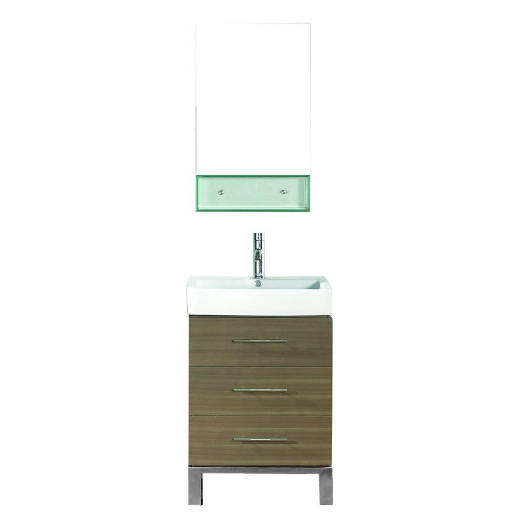Studio Bathe Ginza 22 in. Vanity in Smoked Ash with Porcelain Vanity Top in Smoked Ash and Mirror