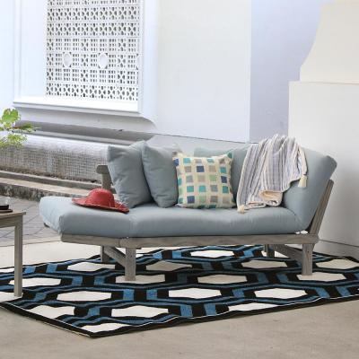 Tulle Weathered Gray Wood Outdoor Convertible Sofa Daybed with Teal Cushion