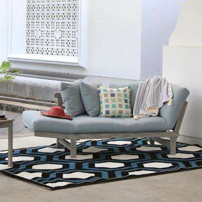 Tulle Wood Outdoor Convertible Sofa Daybed with Teal Cushion