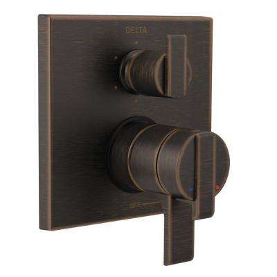 Ara Modern 2-Handle Wall-Mount Valve Trim Kit with 6-Setting Integrated Diverter in Venetian Bronze (Valve Not Included)