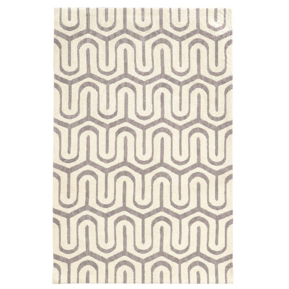 Geo Collection Grey/Ivory 5 ft. x 7 ft. Indoor Area Rug