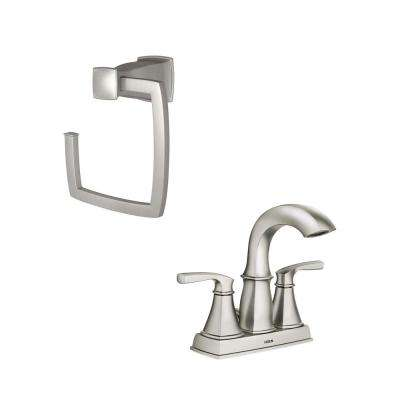Hensley 4 in. Centerset 2-Handle Bathroom Faucet Featuring Microban Protection with Towel Ring in Spot Resist Nickel