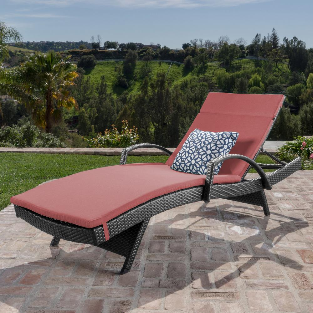 Noble House Miller Grey Wicker Outdoor Chaise Lounge with Red Cushion and Armrest
