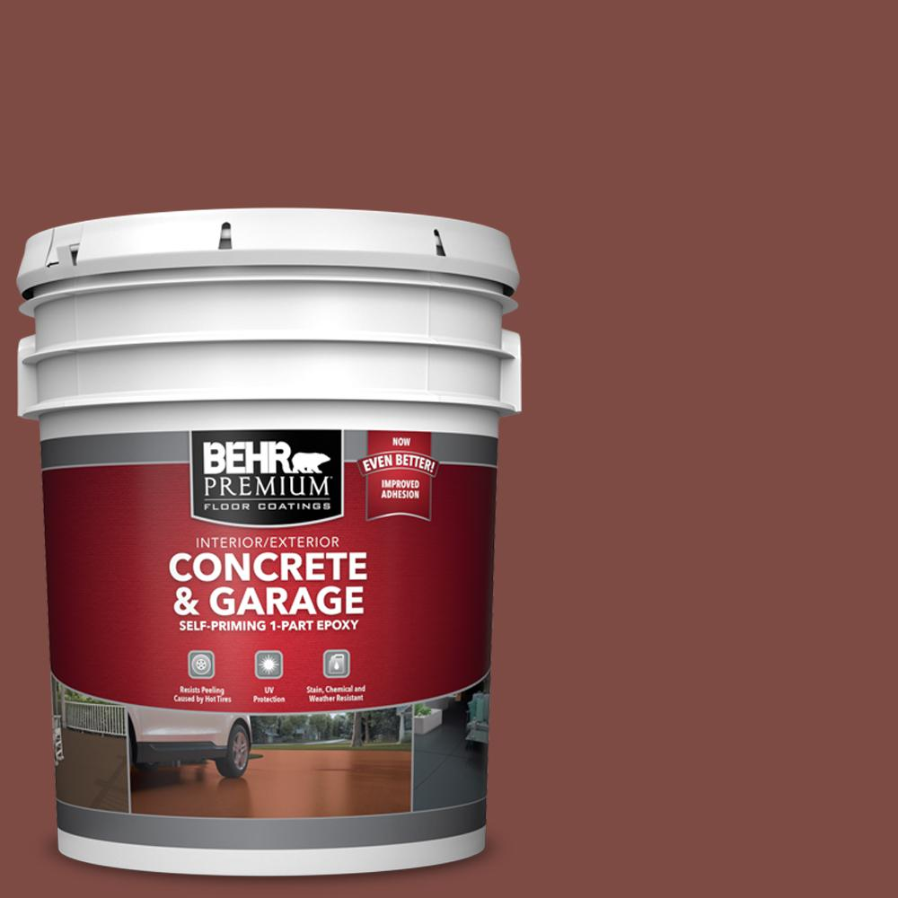 BEHR PREMIUM 5 gal. #PFC-02 Brick Red Self-Priming 1-Part Epoxy Satin Interior/Exterior Concrete and Garage Floor Paint