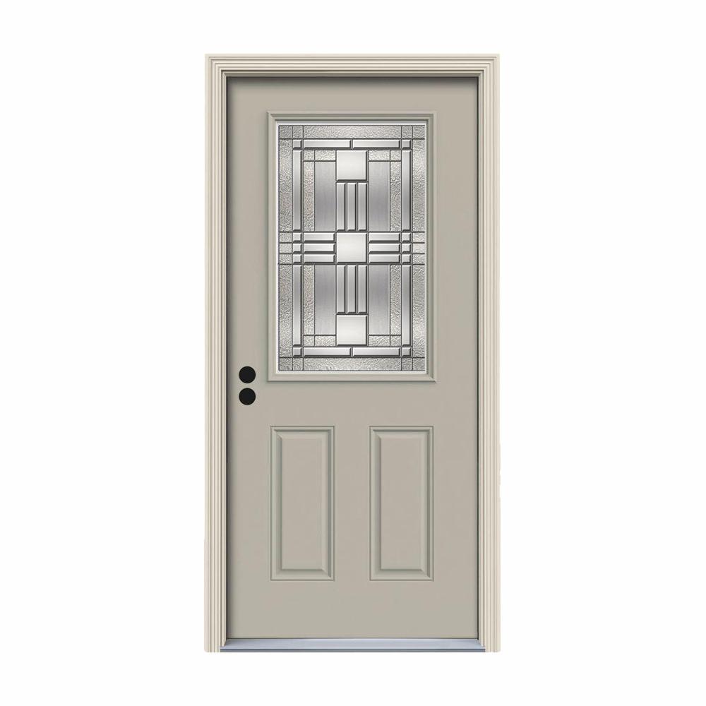 JELD-WEN 32 in. x 80 in. 1/2 Lite Cordova Desert Sand Painted Steel Prehung Right-Hand Inswing Front Door w/Brickmould
