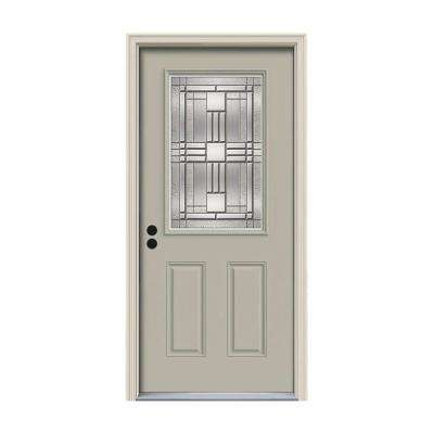 32 in. x 80 in. 1/2 Lite Cordova Desert Sand Painted Steel Prehung Right-Hand Inswing Front Door w/Brickmould