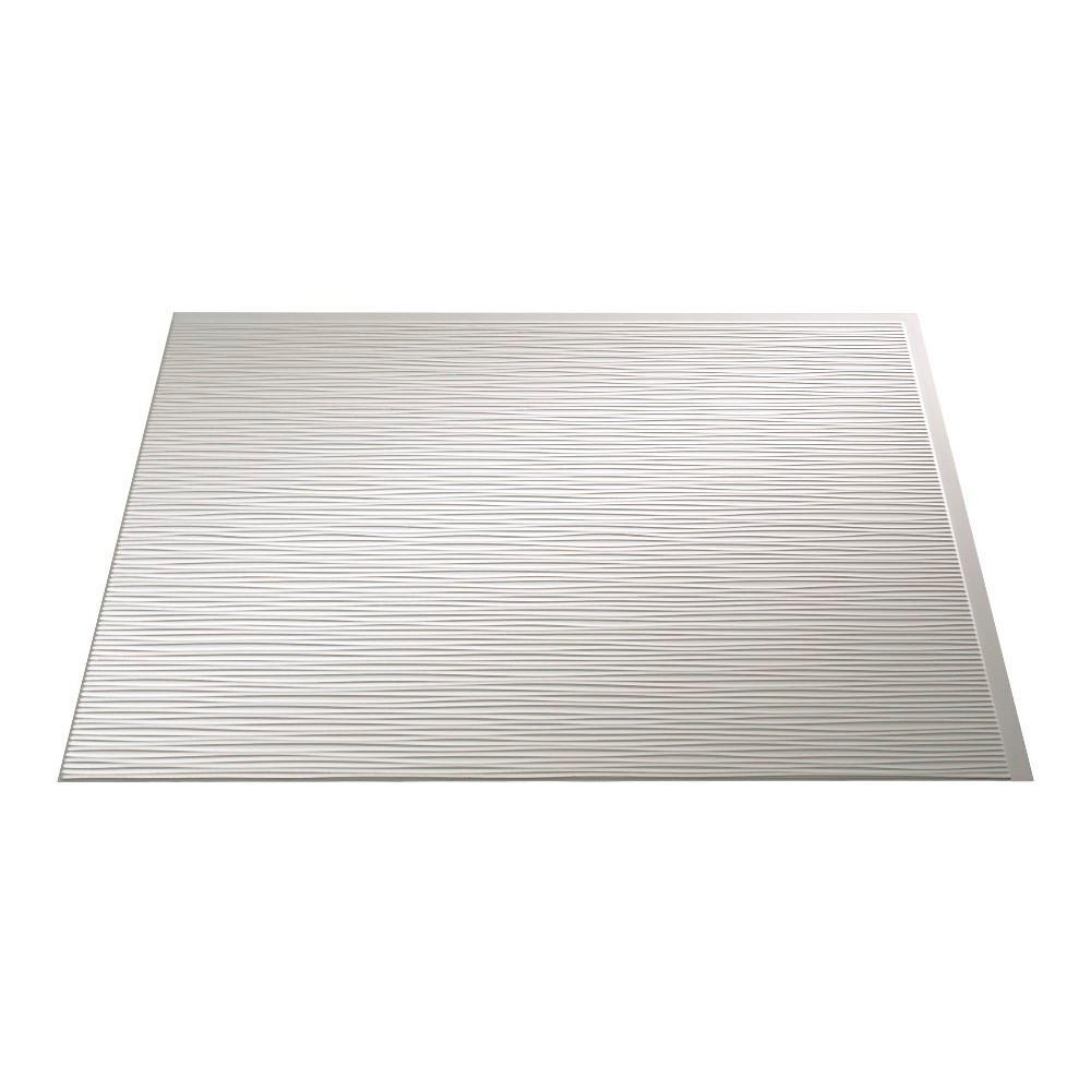 24 in. x 18 in. Ripple PVC Decorative Backsplash Panel in Matte White