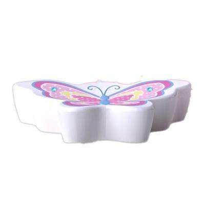Butterfly Dots Collection 4 in. Soap Dish in White with Pink Multicolor Details