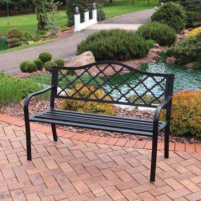 Tremendous Lattice Black Cast Iron Outdoor Bench Evergreenethics Interior Chair Design Evergreenethicsorg