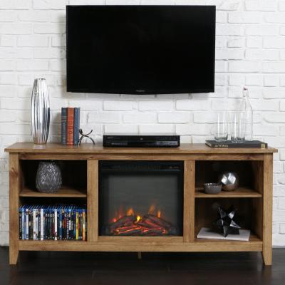 58 in. Rustic Farmhouse Fireplace TV Stand - Barnwood