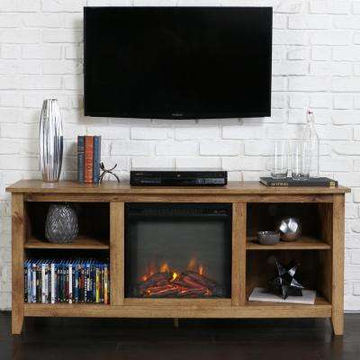 Essentials Barnwood Fire Place Entertainment Center