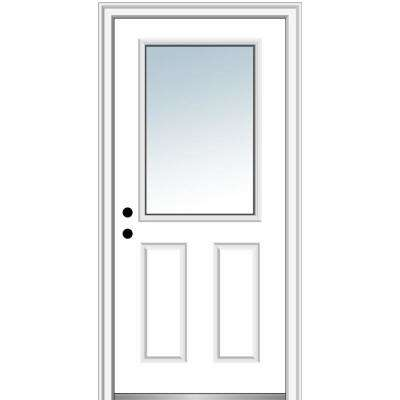 32 in. x 80 in. Classic Right-Hand Inswing 1/2-Lite Clear 2-Panel Primed Steel Prehung Front Door on 4-9/16 in. Frame