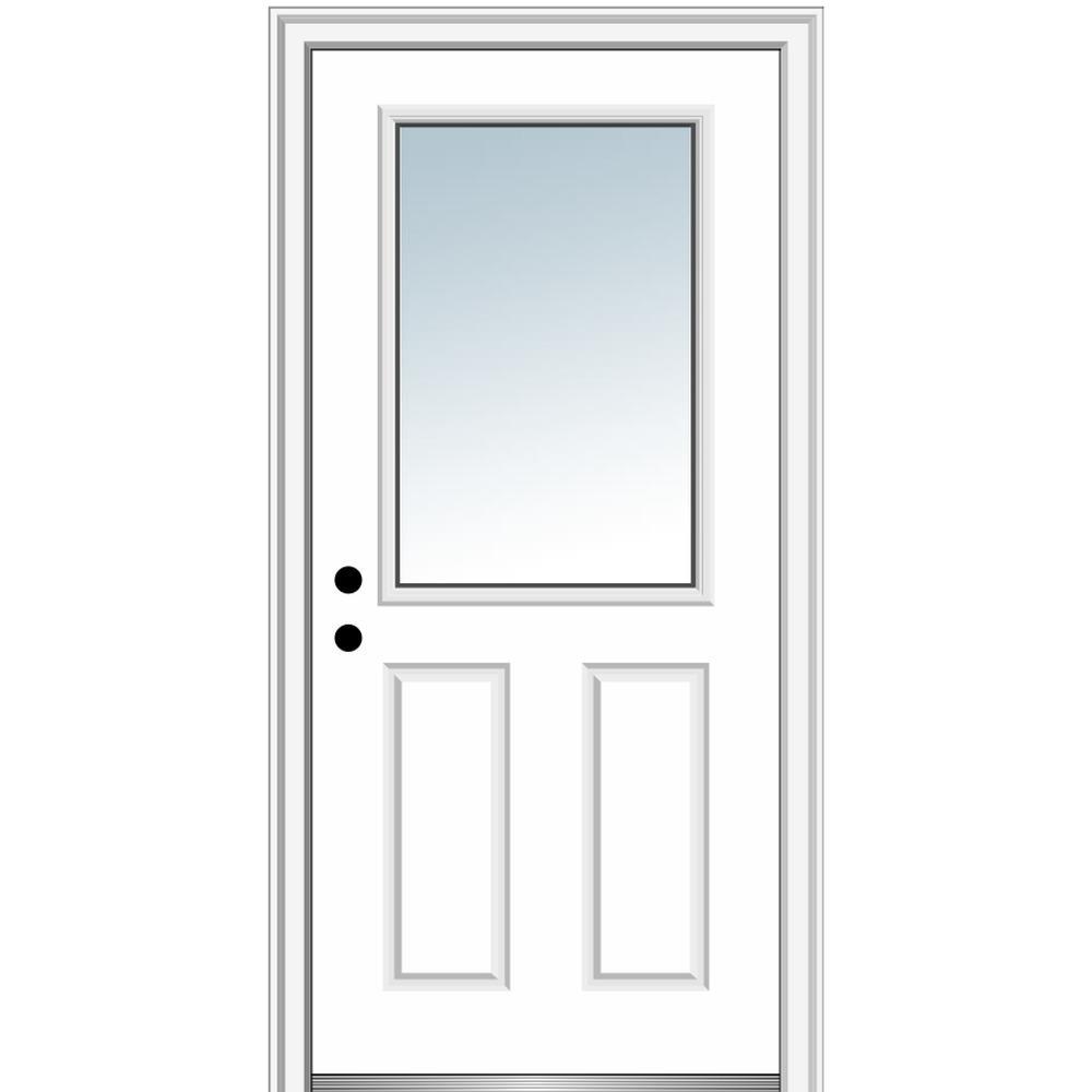 MMI Door 34 in. x 80 in. Classic Right-Hand Inswing 1/2-Lite Clear 2-Panel Primed Steel Prehung Front Door on 4-9/16 in. Frame