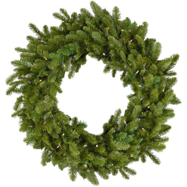 48 in. Grandland Artificial Holiday Wreath with Clear Battery-Operated LED String Lights