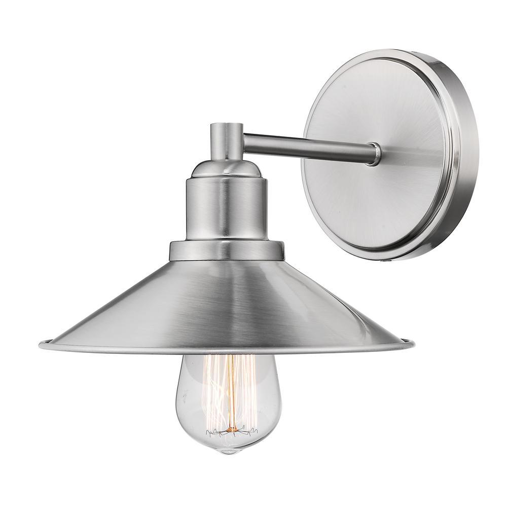 Cortez 1-Light Brushed Nickel Bath Light with Brushed Nickel Steel Shade