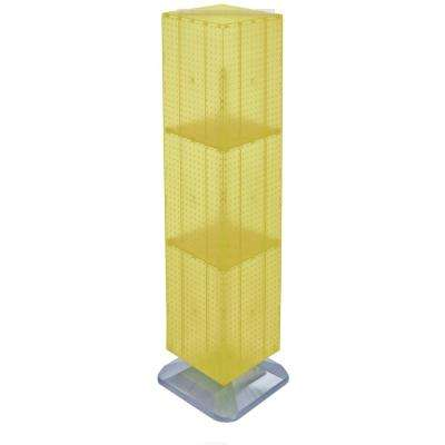 64 in. H x 14 in. W Styrene Pegboard Tower Floor Display on Revolving Base in Yellow