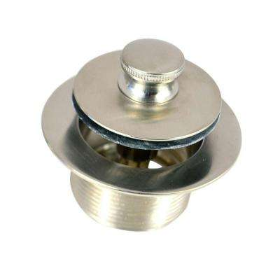 1.625 in. Overall Diameter x 16 Threads x 1.25 in. Lift and Turn Bathtub Stopper and Closure, Brushed Nickel