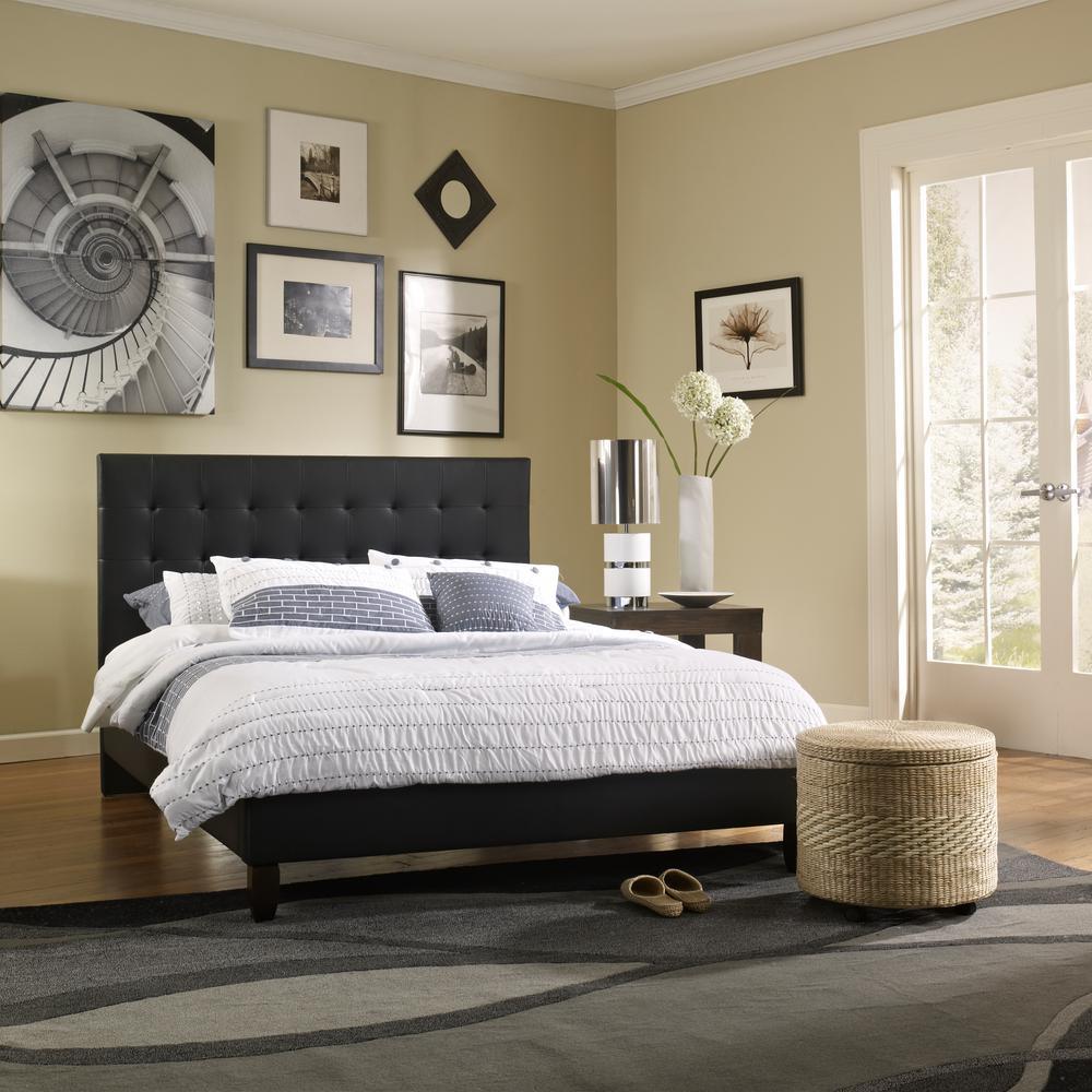 McKenzie Black Queen Upholstered Bed