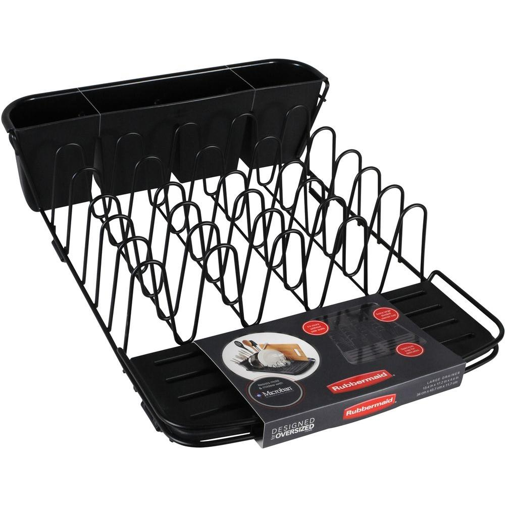 Rubbermaid Deluxe Dish Drainer in Black-1897710 - The Home Depot