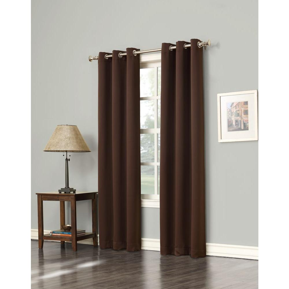 Sun Zero Blackout Gavin 84 in. L Blackout Curtain Panel in Chocolate