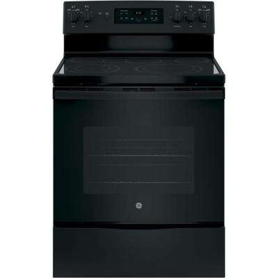 30 in. 5.3 cu. ft. Free-Standing Electric Self-Clean Range with Convection in Black
