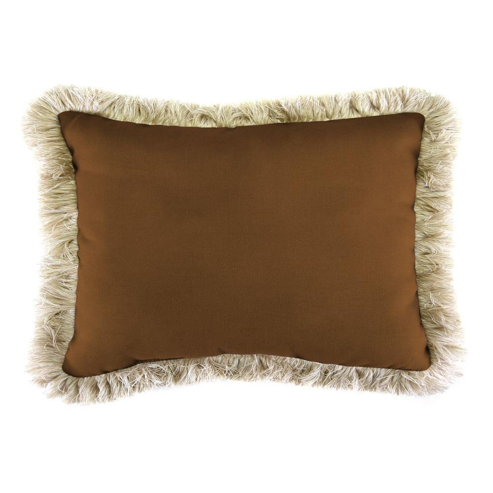 Sunbrella 19 in. x 12 in. Canvas Teak Lumbar Outdoor Throw Pillow with Canvas Fringe