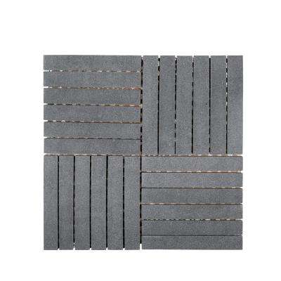 Hudson Basalt 11.875 in. x 11.875 in. x 8 mm Honed Basalt Linear Mosaic Floor and Wall Tile