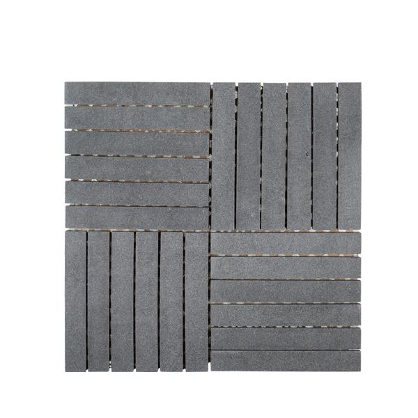 Hudson Basalt Grey 11.875 in. x 11.875 in. Square Honed Basalt Wall and Floor Mosaic Tile (0.979 sq. ft./Each)