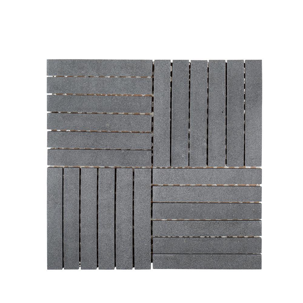 Hudson Basalt 11.875 in. x 11.875 in. x 8 mm Honed Basalt Linear Mosaic Floor and Wall Tile