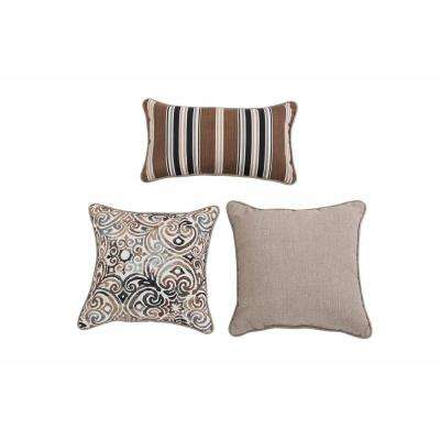 Corinthian Driftwood Gray Outdoor Throw Pillow (3-Pack)