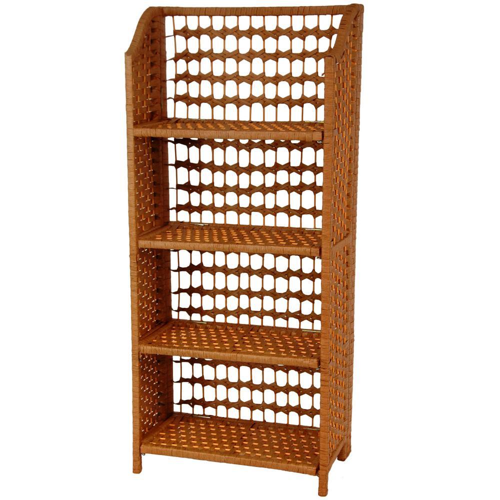 4-Shelf Honey Natural Fiber Shelving Trunk