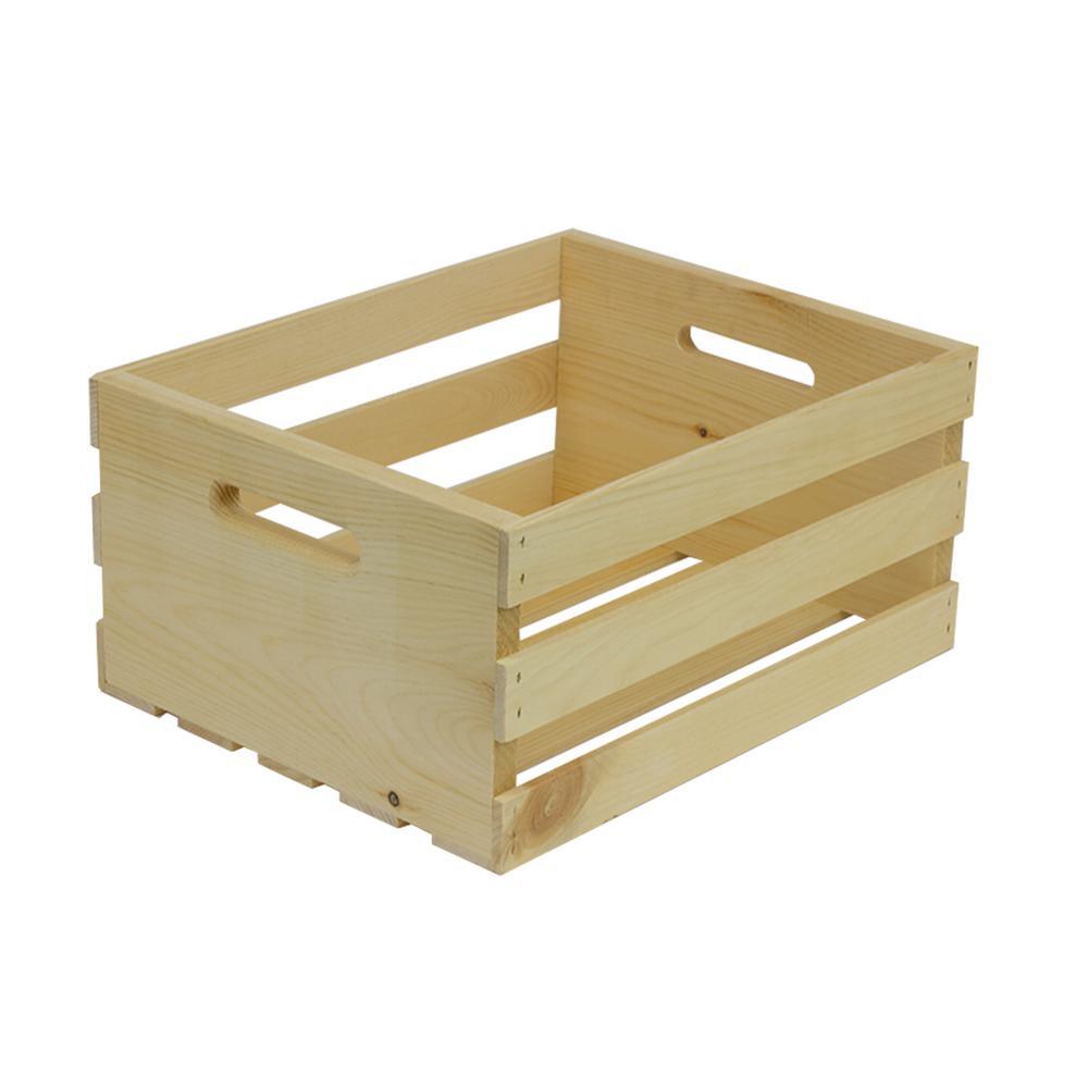 16 in. D x 12.38  in. H x 7.5 in. W 3-Slat Unfinished Crate