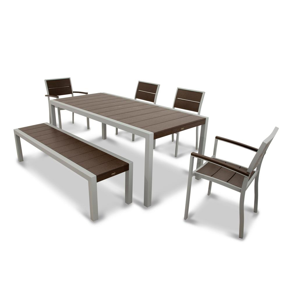 Trex Outdoor Furniture Surf City Textured Silver 6 Piece Plastic Outdoor  Patio Dining Set With
