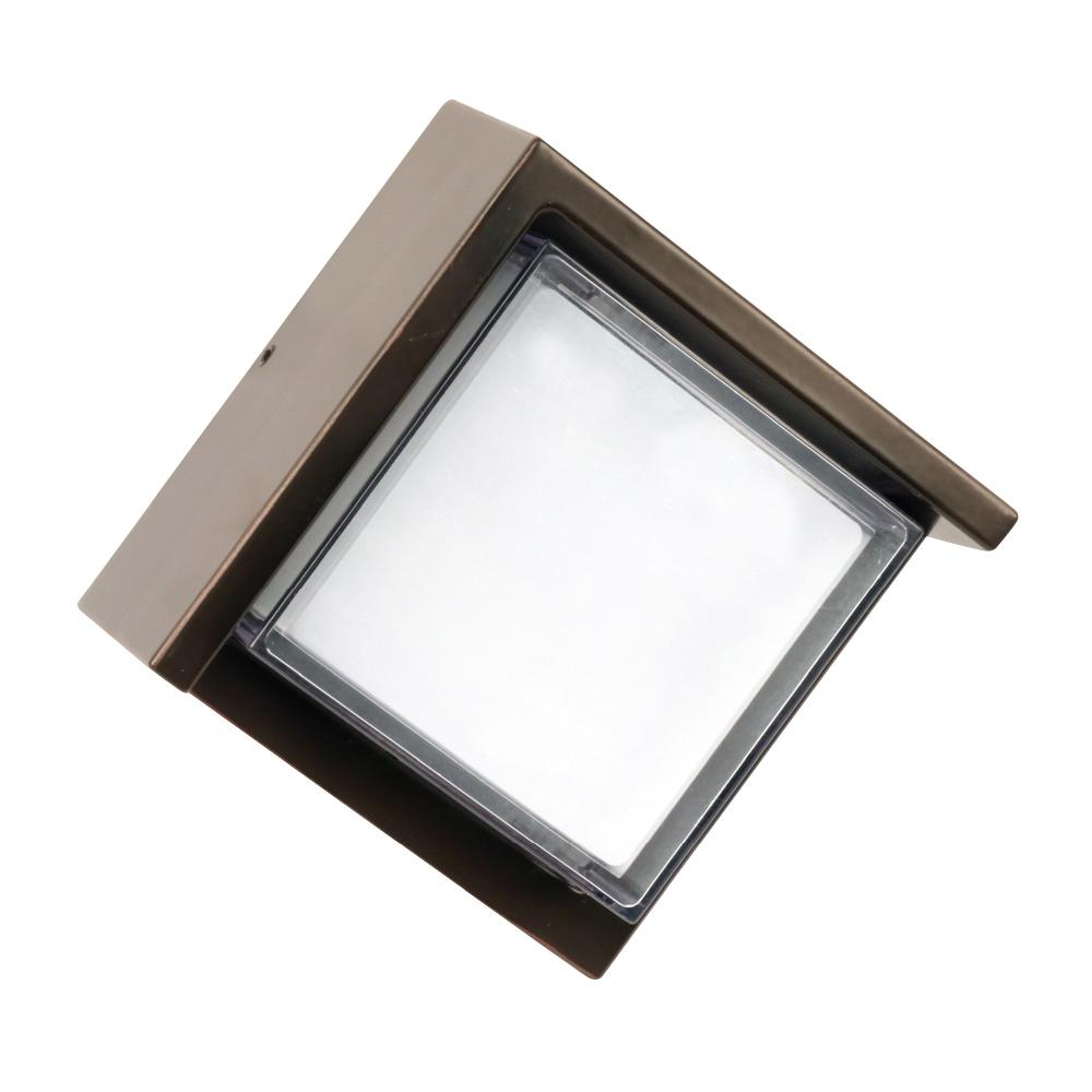 7.5-Watt Bronze Outdoor Integrated LED Low Profile Square Wall Pack Light