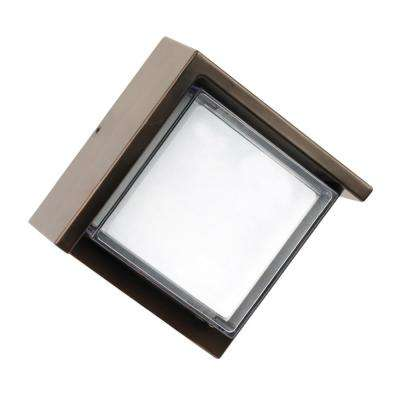 7.5-Watt Bronze Outdoor Integrated LED Low Profile Square Wall Pack Light with Dusk to Dawn Photocell Sensor